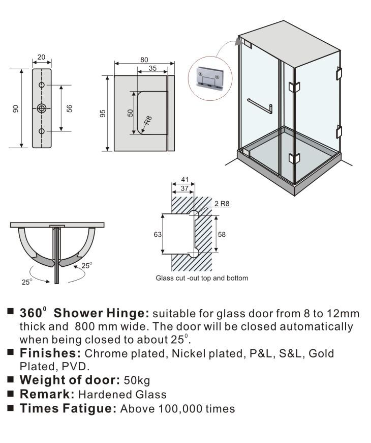 360 Degree Glass To Header Top Mounted Shower Door Pivot