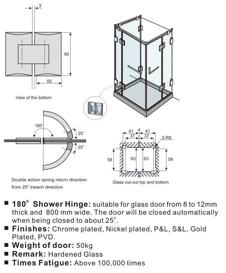 180 Degree Shower Door Hinges For Frameless Shower Door