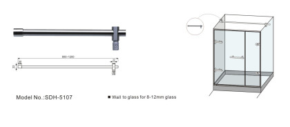 800-1200mm Glass to wall shower connector bar supplier from China[SDH-5107]