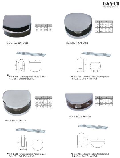 Brass Glass Shelf Sec.XV Chat di muru 6-12mm [GSH-101, GSH-103, GSH-104, GSH-105]