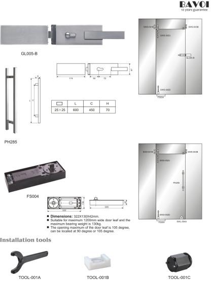 Miguel-Bagno suluzione sistemu porta Swing [GL005-B, PH285, FS004, strumentu-001A, B, C]