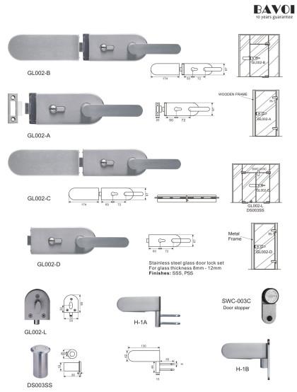 Sense-Stainless steel glass door lock manufacturer[GL002A,B,C,D,L,H-1A,B]
