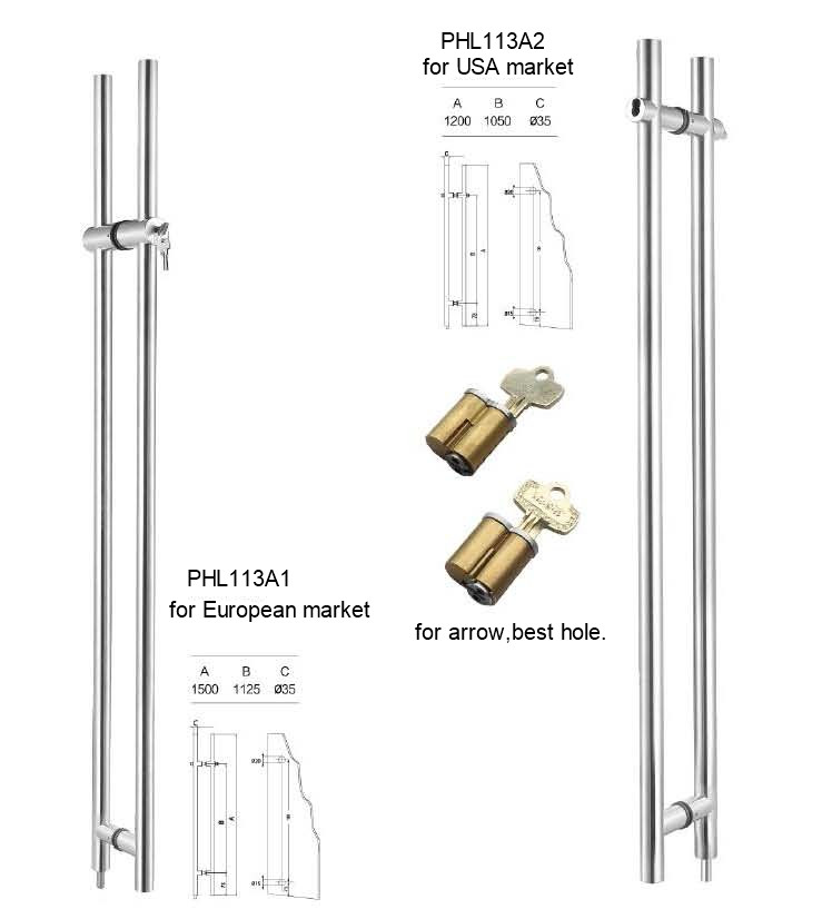 American Cylinder Glass Door Locking Pull Handles Manufacturer
