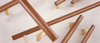 Wood + brass door pull