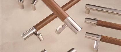 stainless steel + wood door pull