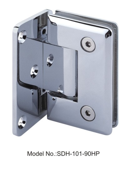 90 Degree Glass to Wall Shower Door Hinges Bevel Edged with half plate[SDH-101-90HP]