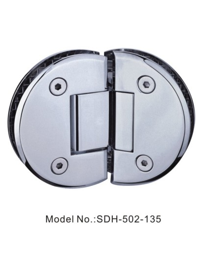 135 Degree Brushed Pewter Shower Door Hinges Glass to Glass Semi-circle[SDH-502-135]