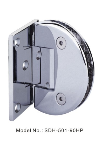 90 Degree Black Nickel Shower Door Hinges with Half Plate Glass to Wall[SDH-502-90HP]