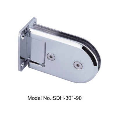 90 Degree Oblong Shape Shower Door Hinges Glass to Wall Polished Brass[SDH-301-90]