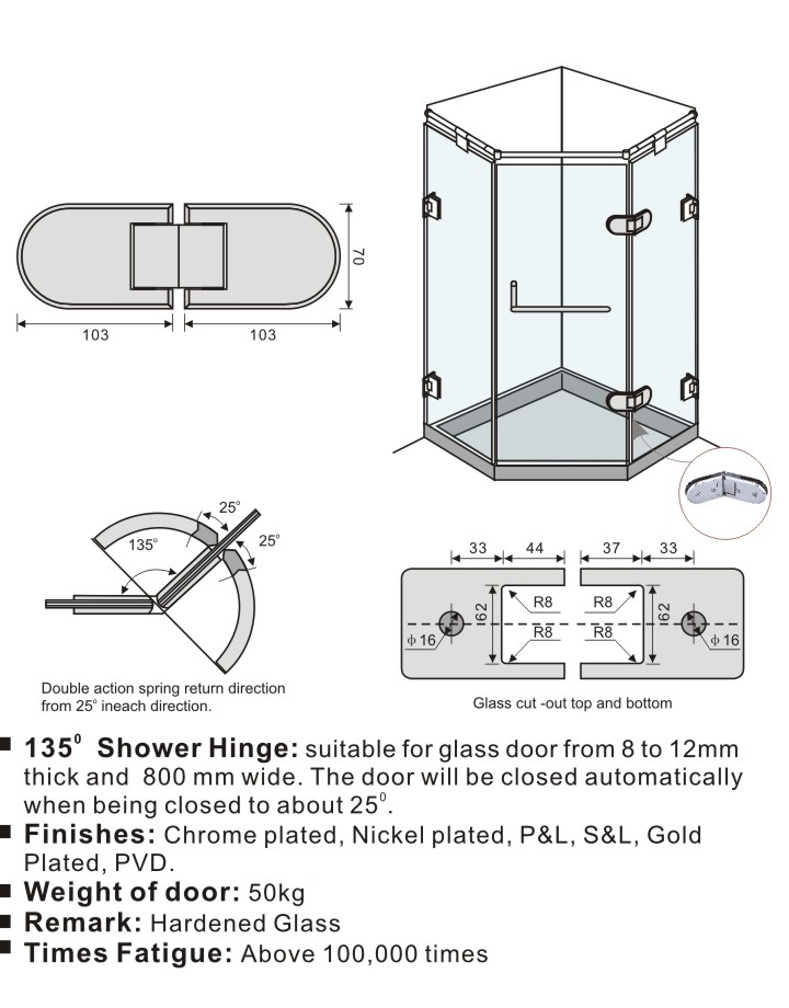 135 Degree Oblong Design Shower Door Hinges Glass to Glass Solid ...