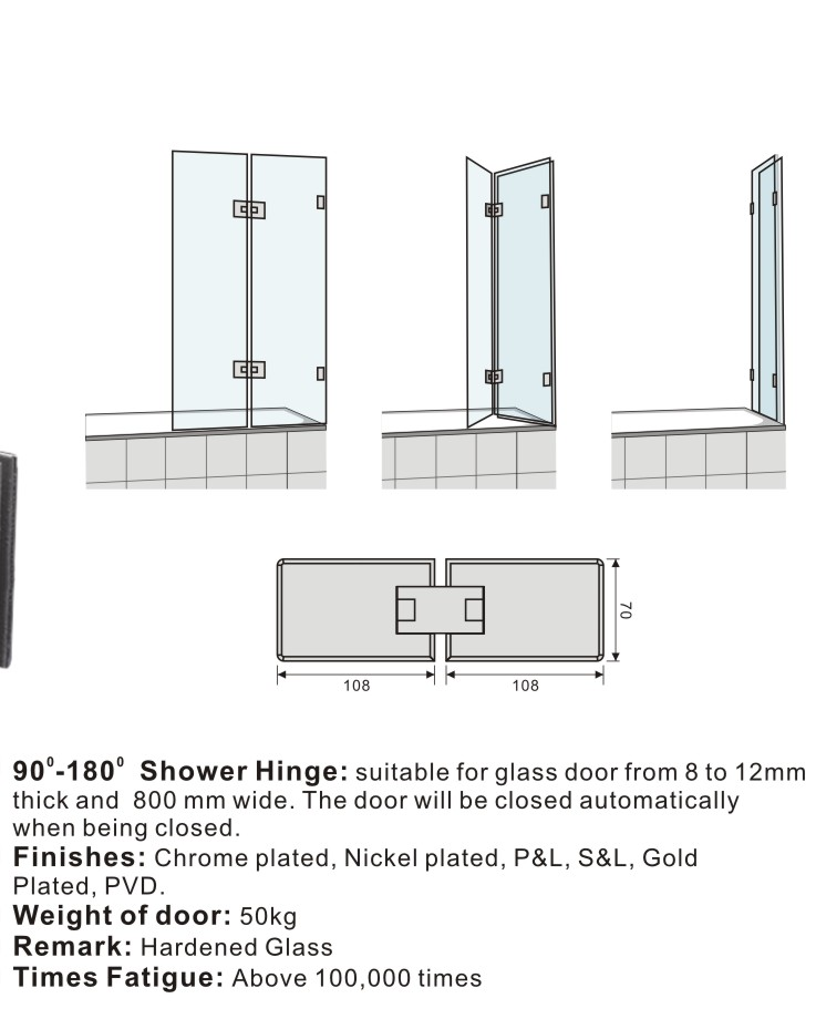 90 to 180 degree automatically close shower door hinges for Glass door design jobs