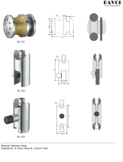 Roller-Shower sliding system Solution supply for 8-12mm glass[SL-101,SL-102,SL-103]