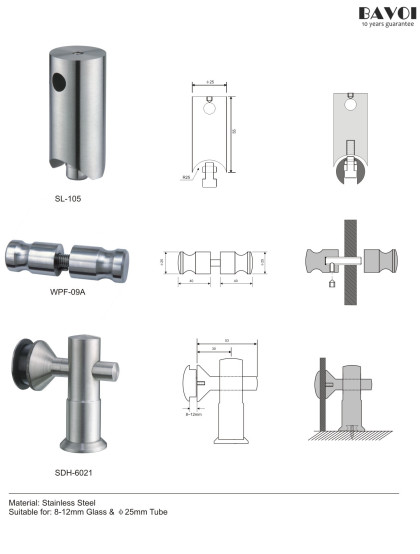 Wheel-Shower sliding System glass wall holder Manufacturer[SL-105,WPF-09A,SDH-6021]