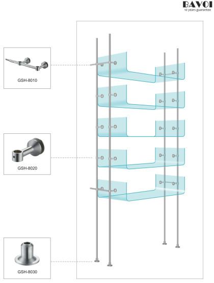 Floor standing Glass Shelf Holder manufacturer for bathroom[GSH-8010,GSH-8020,GSH-8030]