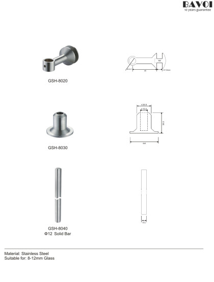 Stainless steel Glass Shelf Holder Parts wholesale for bathroom[GSH-8020,8030,8040]