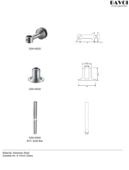 Stainless steel Glass Shelf Holder Parts wholesale for bathroom[GSH-8020,8030,8040]