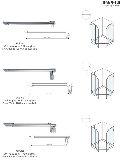 Brass Cross bar supplier for wall to glass [BCB-04,BCB-05,BCB-06]