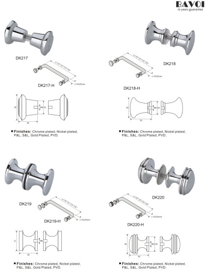 Brass shower door knob manufacturers for bathroom [DK217,218,219,220]