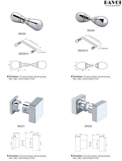 Brass Shower door knob supplier for bathroom nickel plated[DK229,230,231,232]