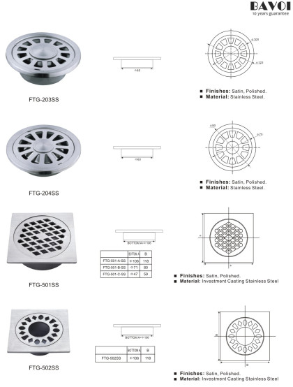 Stainless steel Floor Trap Grating Manufacturer[FTG-203SS,204SS,501SS,502SS]
