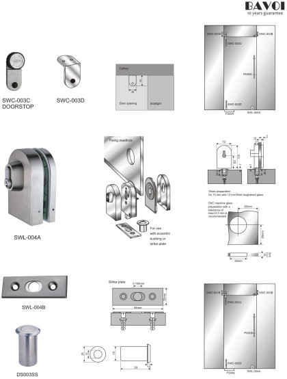 Marco-Swing door system component for shower room[SWC-003C,003D,SWL-004A,004B]