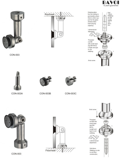 Glass to Wall Connecting system component manufacturer[CON-003,CON-003A,B,C]
