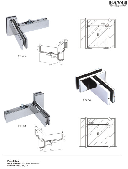 Patch fitting for glass door system[PF030,PF031,PF034]