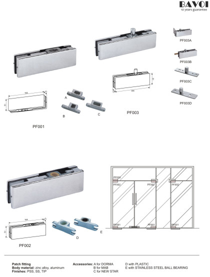 Patch Fittings for tempered glass assemblies[PF001,PF002,PF003]