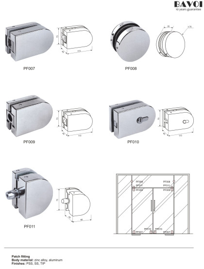 Patch Fittings for glass sliding doors[PF007,008,009,010,011]