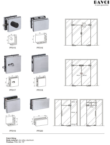 Glass door patch fitting supplies [PF015,016,017,018,019,020]