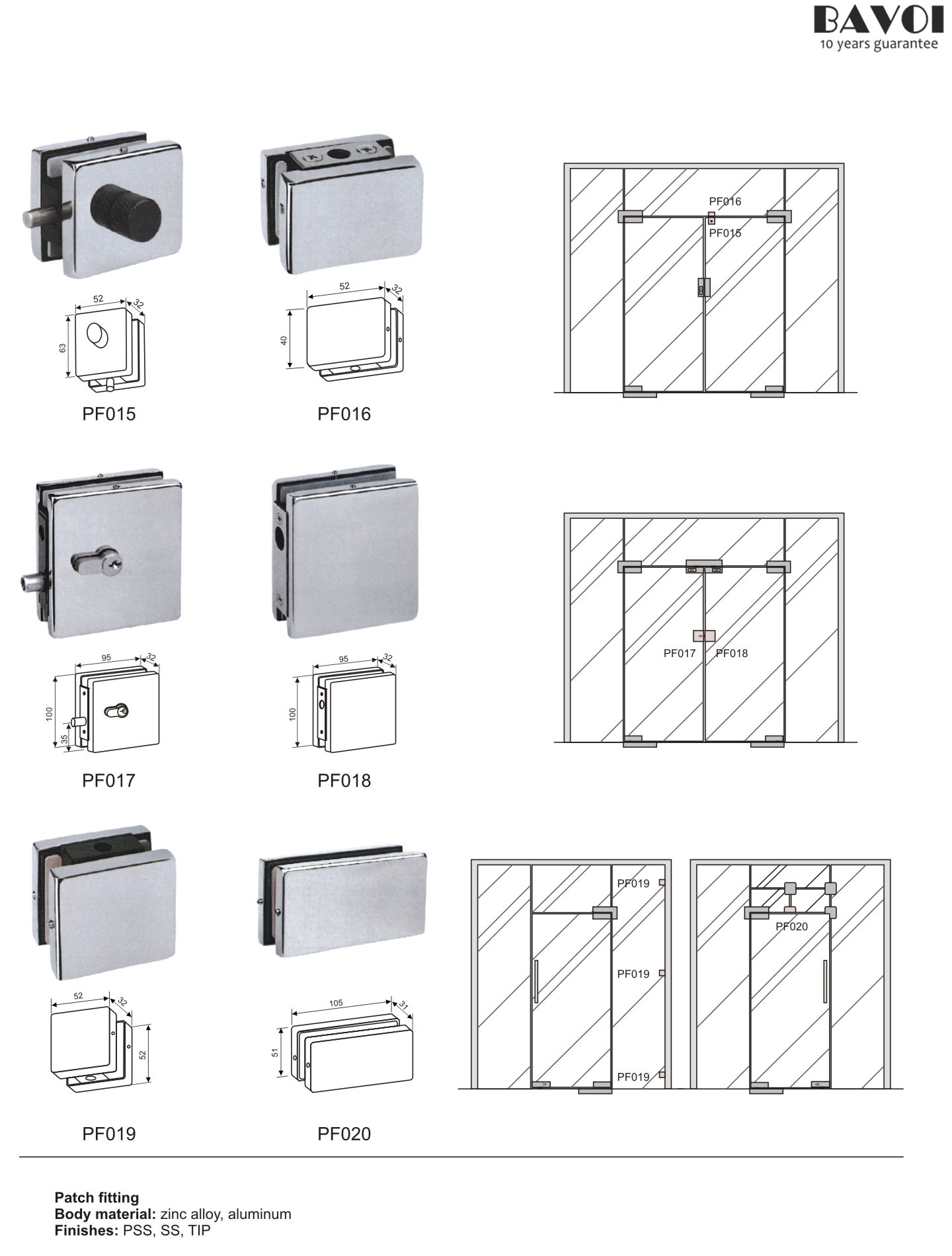 Glass Door Patch Fitting Supplies Pf015 016 017 018 019 020