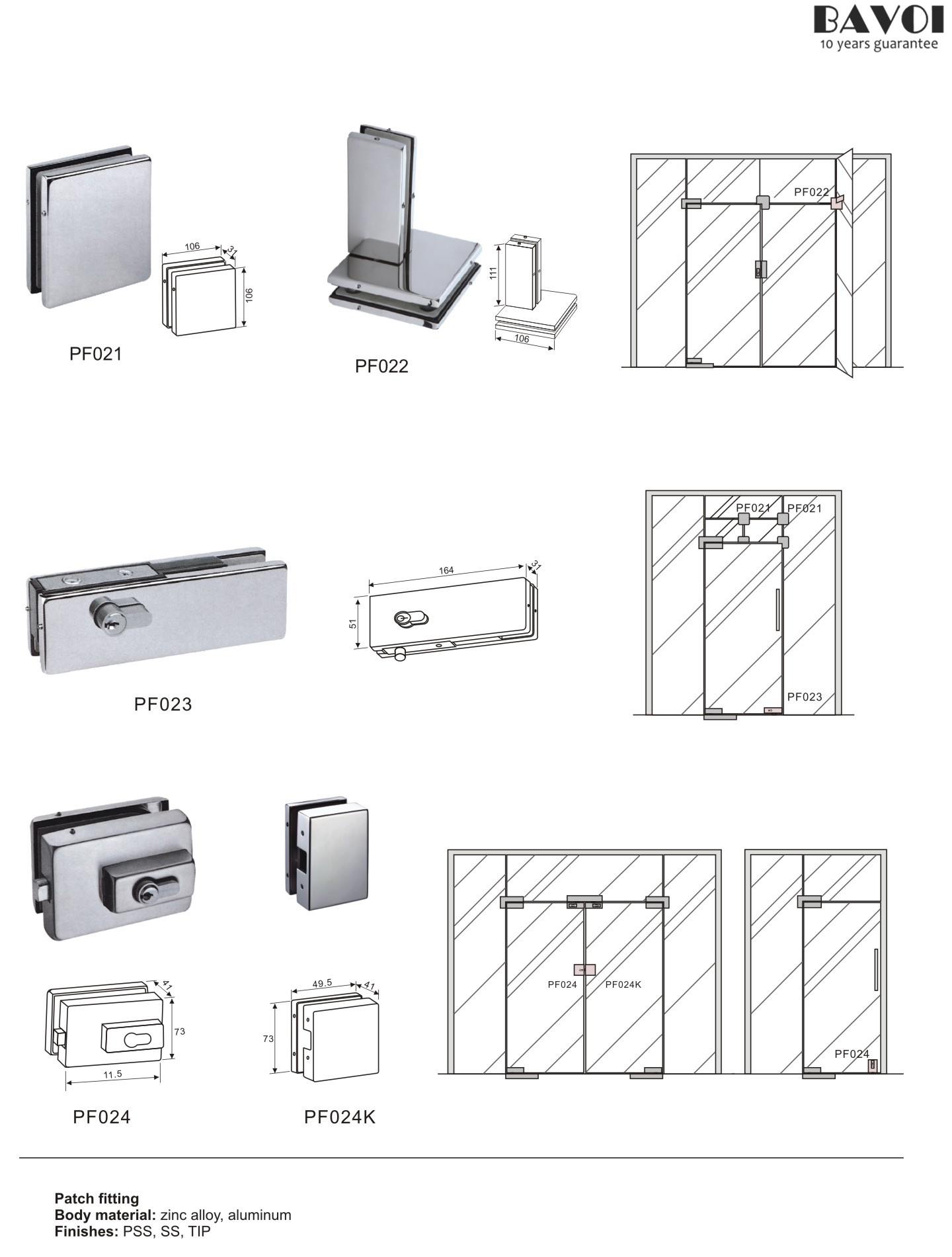sc 1 st  Shower Door Hinges & Glass door patch fitting supplies [PF021022023024024k] pezcame.com