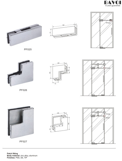 Patch fitting for glass door system[PF025,026,027]
