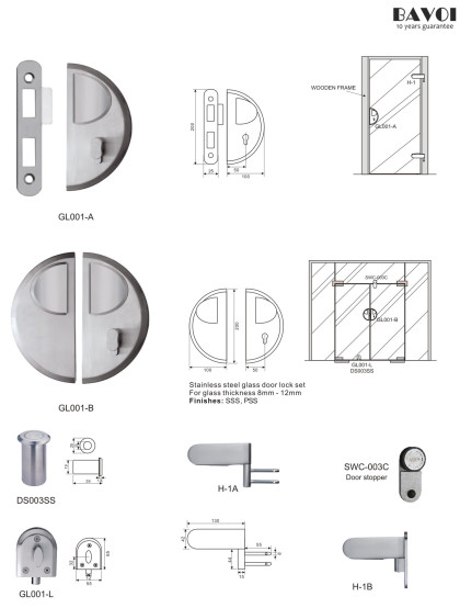 Aroma-Stainless steel glass door lock manufacturer[GL001A,B,L,H-1A,B]