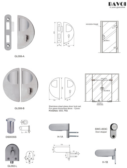 Canter-Stainless steel glass door lock manufacturer[GL008A,B,H-1A,B]
