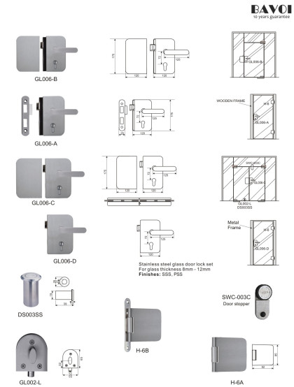 Fort-Stainless steel glass door lock manufacturer[GL006A,B,C,D,H-6A,B]