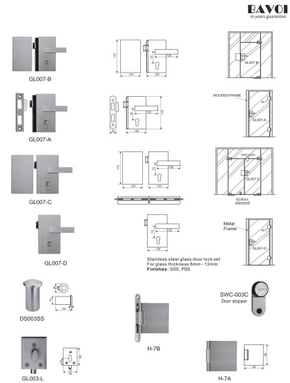 Graze-Stainless steel glass door lock manufacturer[GL007A,B,C,D,H-7A,B]