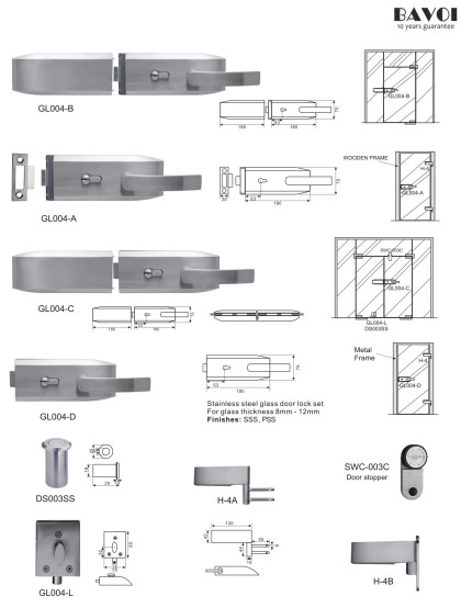 Orbit-Stainless steel glass door lock manufacturer[GL004A,B,C,D,L,H-4A,B]