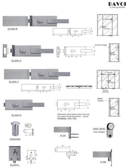 Zoom-Stainless steel glass door lock manufacturer[GL005A,B,C,D,L,H-2A,B]