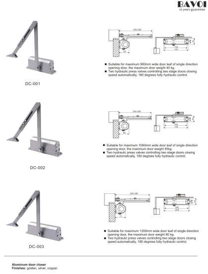 Door closer manufacturer factory for glass door[DC-001,002,003]