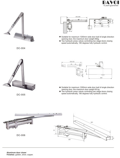 Door closer manufacturer China factory for glass door[DC-004,005,006]