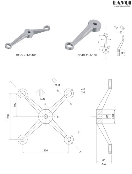 Spider fitting manufacturer China factory for glass project[SF-DL11-2-180,1-180]