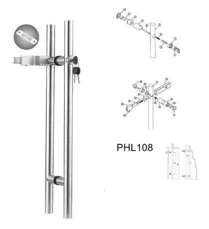 800-1800mm Locking pull handles manufacturer European Cylinder [PHL108]