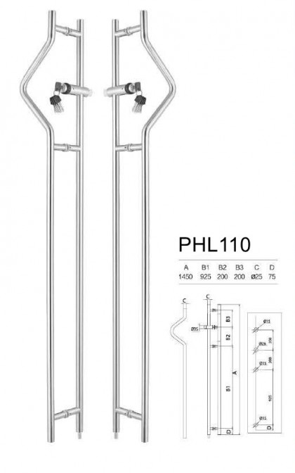 stainless steel glass door Lockable pull handles manufacturer [PHL110]
