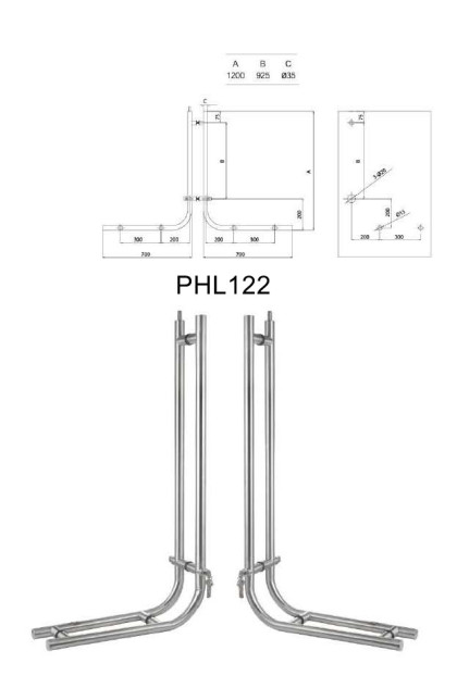 European cylinder glass door Locking pull handles manufacturer [PHL122]