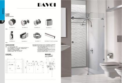 Glass bath room sliding door system solution supply[SLA009]