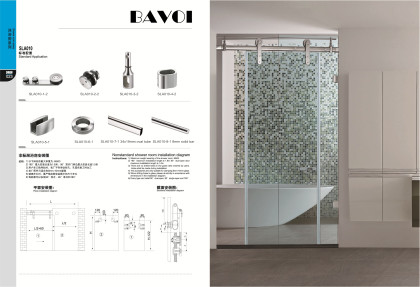 Glass bath room sliding door system solution supply[SLA010]