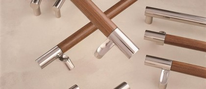 stainless steel + wood door pull