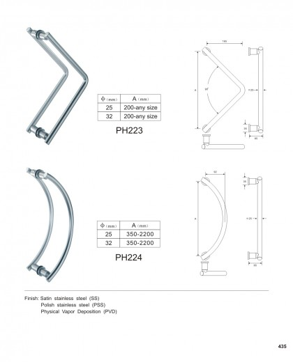 custom glass door pull handles manufacturer PH223 PH224