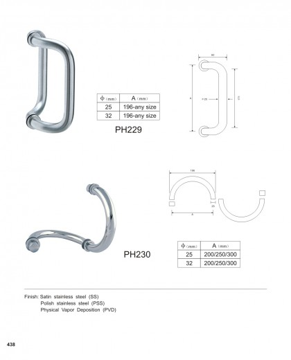 Custom Commercial Door Pulls manufacturer PH229 PH230